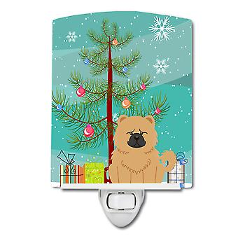 Caroline schätze Frohe Weihnachtsbaum Chow Creme Keramik Nachtlicht, 6 x 4, multicolor