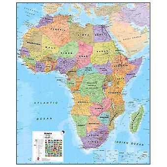 Enorm Afrika väggkarta politisk (laminerad)
