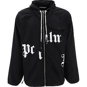 Palm Angels Broken Gothic Logo Windbreaker Black Jacket