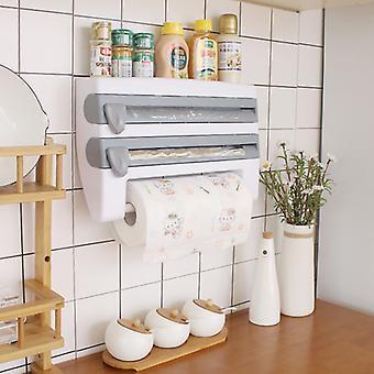 Wall-Mount Paper Towel Holder Sauce Bottle Rack 4 In 1 Cling Film Cutting Holder Mutifunction Kitchen Organizer