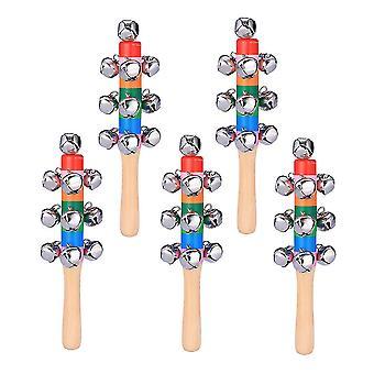 5pcs面白い子供ガラガラカラフルなハンドベルプレイシングス創造的なハンドベルおもちゃ赤ちゃんのための幼児