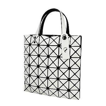 Holografisk geometrisk tyghandväska handväska för kvinnor (vit)