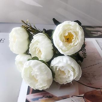 Vacker ros peony konstgjorda silkeblommor liten bukett