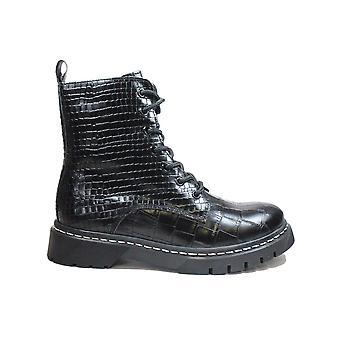 タマリス 25865 028 ブラック クロック テクスチャ レザー レディース アンクル ブーツ