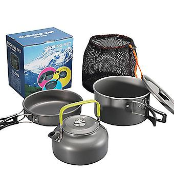 2-3 Person outdoor camping portable tableware kettle fry pan pot cooking travel picnic set