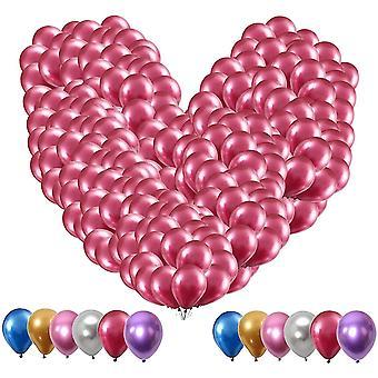 100 Stück Rosa Metallic Luftballons Set,5 Zoll Glänzendes Luftballons Helium, Latexballons