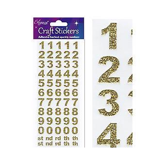 Gull Glitter Fet Nummer & Symbol Klistremerker for håndverk