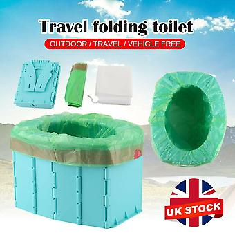 (Blue) Portable Travel Folding Toilet Urinal Mobile Seat Porta For Camping Long Trip