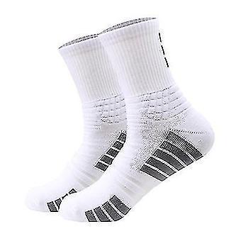 3 Pairs Of Outdoor Running Basketball Sports Socks Ladies Mid-tube Cotton Socks(White)