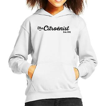 Citroen Citroenst Est 1919 Svart Logotyp Kid's Hooded Sweatshirt