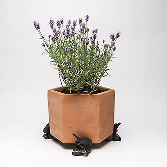 Potty Feet Blue Tit Bird On Log Themed Plant Pot Feet - Bronze Color - Set of 3
