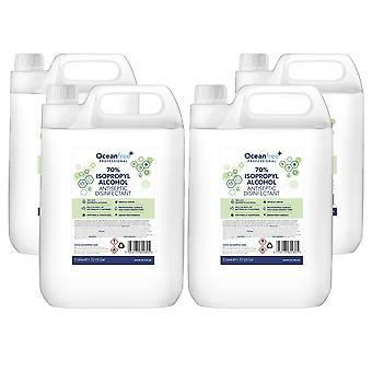 IPA Disinfectant Rubbing Isopropyl Alcohol Hand Sanitiser - 5L Litre x4 - Certified Surgical / Medical Grade - Made in the UK