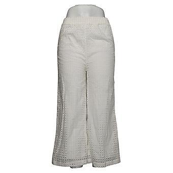 WynneLayers By Marla Wynne Women's Pants Eyelet Pull-On White 694646