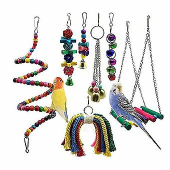 Set Of 7 Bird Chew Toys With Perches, Balls And Bells