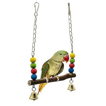 Bird Parrot Swing álló rudak Fa gyöngyök Pet Toy