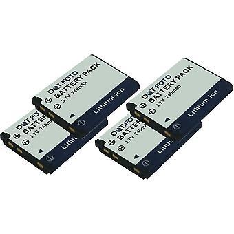 4 x batteria di ricambio DS5370 Dot.Foto GE GB-10, GB-10A, - 3.7 v / 740mAh