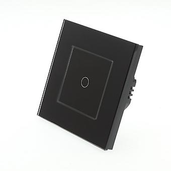 I LumoS Black Glass Frame 1 Gang 1 Way Touch Dimmer LED Light Switch Black Insert