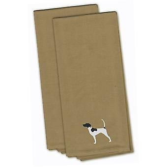 English Pointer Tan Embroidered Kitchen Towel Set of 2