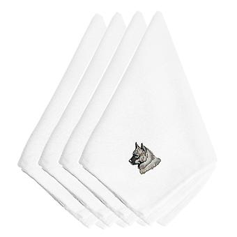 Norwegian Elkhound Embroidered Napkins Set of 4