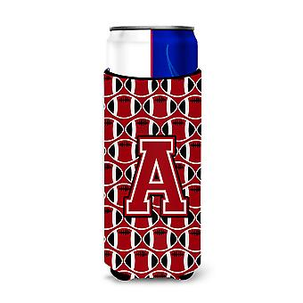 Letter A Football Red, Black and White Ultra Beverage Insulators for slim cans