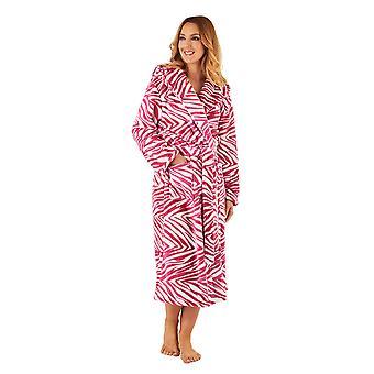 Slenderella GL8740 vrouwen framboos roze Zebra afdrukken Robe lange mouw badjas