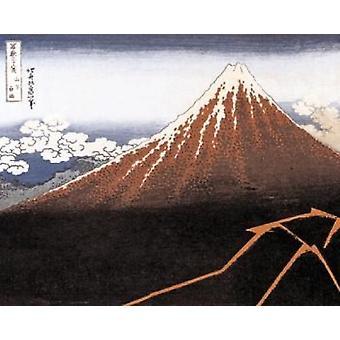 هوكوساي-طباعة الملصقات ملصق أسود جبل فوجي