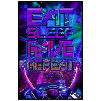 Black Light - Eat Sleep Rave Repeat Poster Poster Print