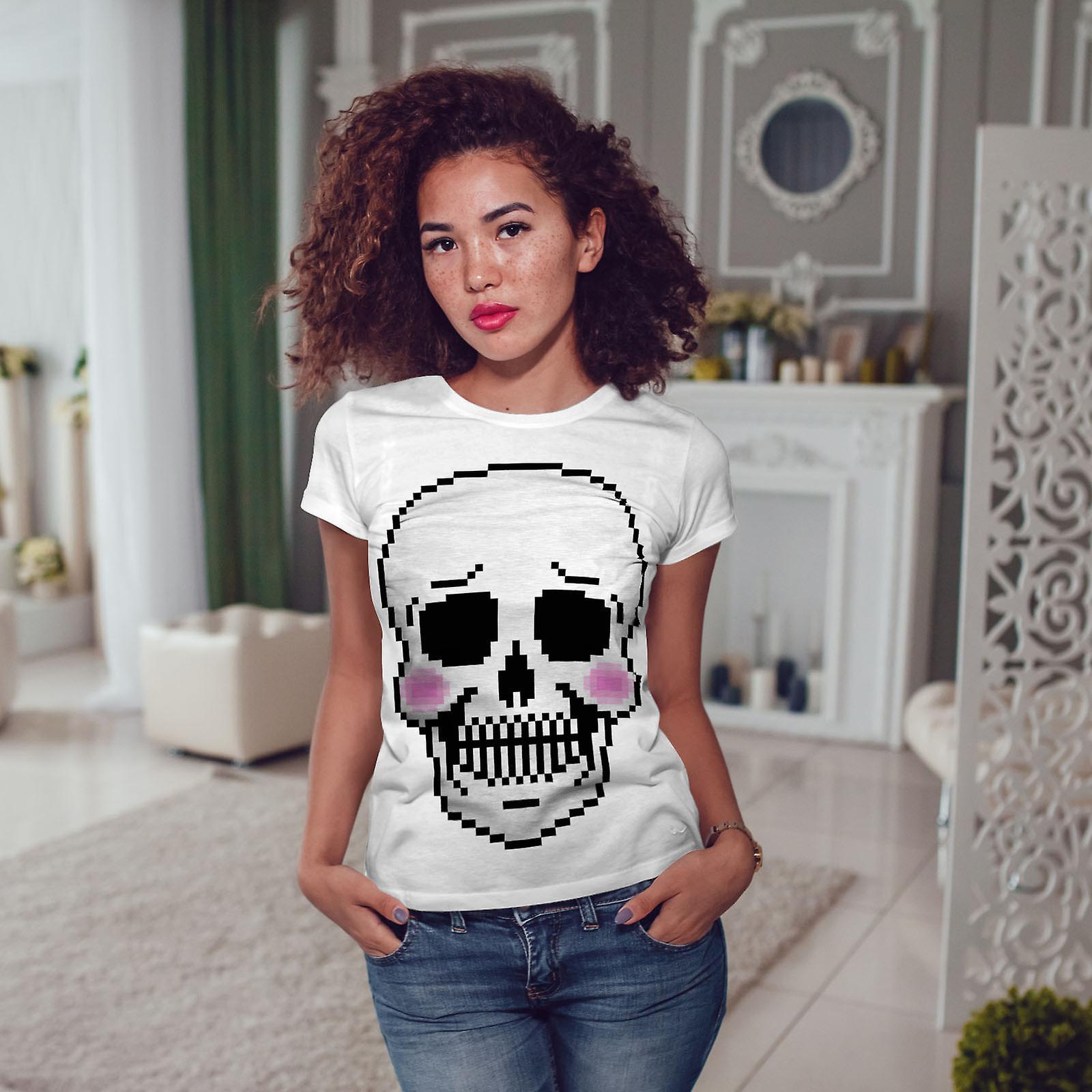 Fard à joues de crâne squelette mignon WhiteT-shirt femme | Wellcoda