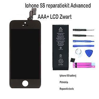 IPhone 5S LCD reparere og oppgraderingssett for den avanserte-svart