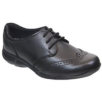 Term Girls Summer Lace School Shoes Black Leather