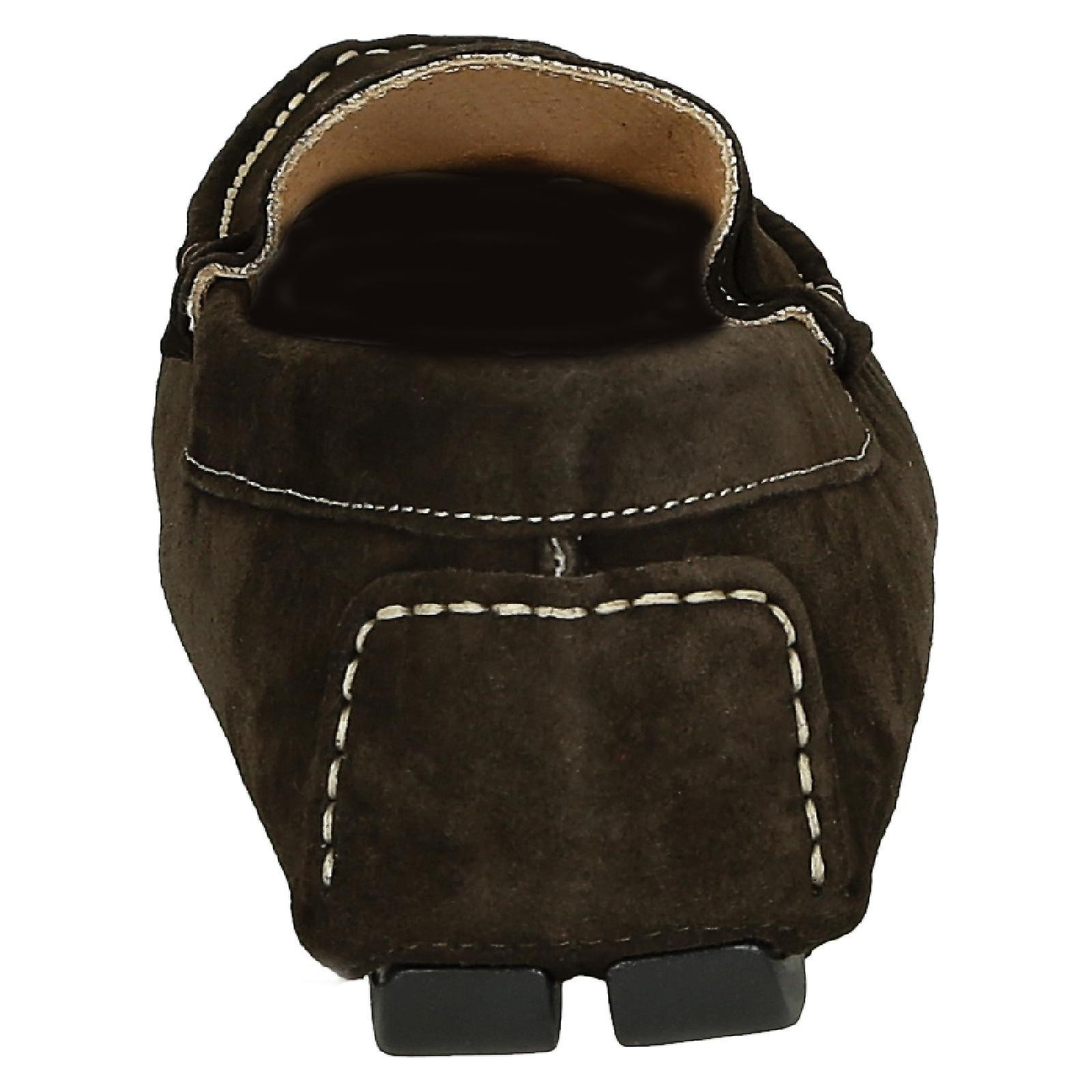 Brown Suede Leather Men's Driving Moccasin