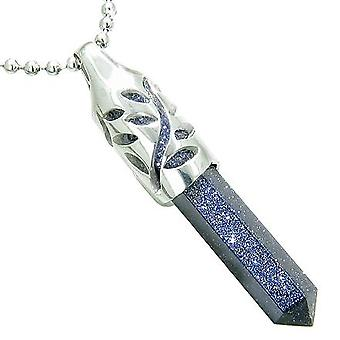 Positive Magie Kräfte Blatt Amulett Crystal Energiepunkt Lucky Charm blau Gold Stein Anhänger Halskette