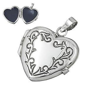 Anheng - hjerte, medaljong - 925 sølv