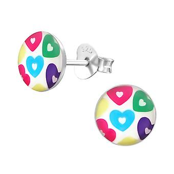 Hearts - 925 Sterling Silver Colourful Ear Studs - W19694X