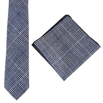 Knightsbridge Neckwear Prince of Wales Check cravate et mouchoir de poche Set - Marine/vert