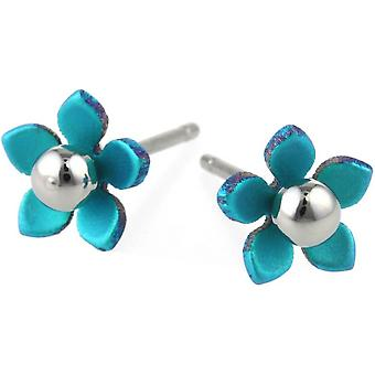 Ti2 Titanium 8mm Five Petal Polished Bead Flower Stud Earrings - Kingfisher Blue