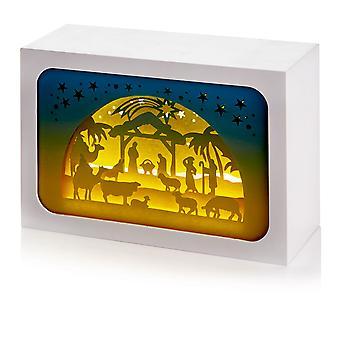 TRIXES 16 cm LED クリスマス キリスト降誕シーン装飾長方形立方体