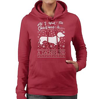 All I Want For Christmas Is A Dachshund Knit Pattern Women's Hooded Sweatshirt
