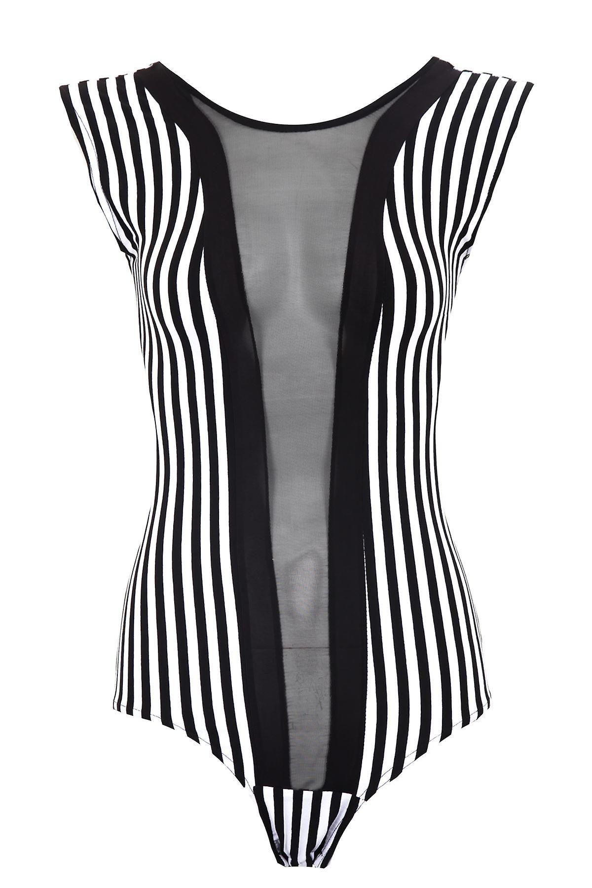Ladies Bodysuit Long Sleeve Sleeveless Mesh Black White Stripe Leotard