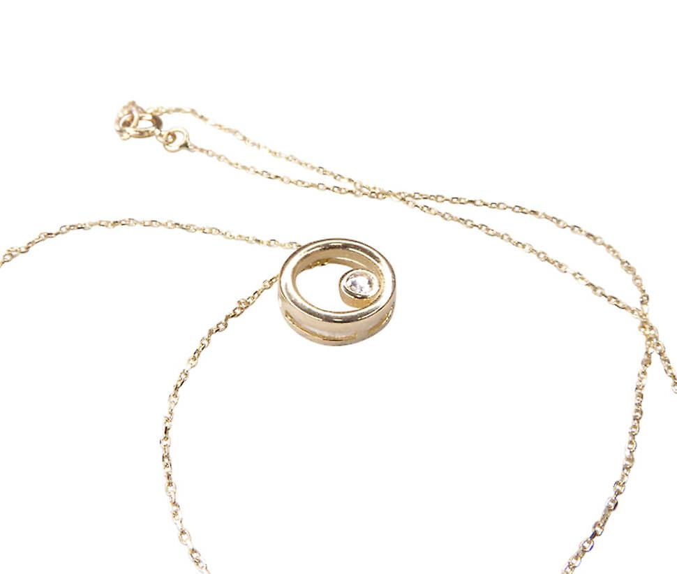 Yellow gold necklace with Circle Pendant