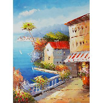 Medelhavet Mediterranean, oljemålning på duk, 30x40 cm