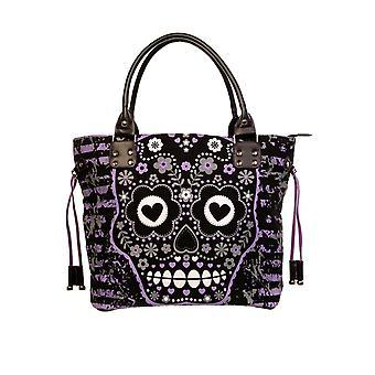 Banned Purple Sugar Skull Shoulder Bag