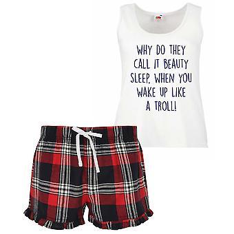 Perche ' lo chiamano sonno di bellezza quando svegli come un breve Set di pigiama Ladies Tartan Frill Troll