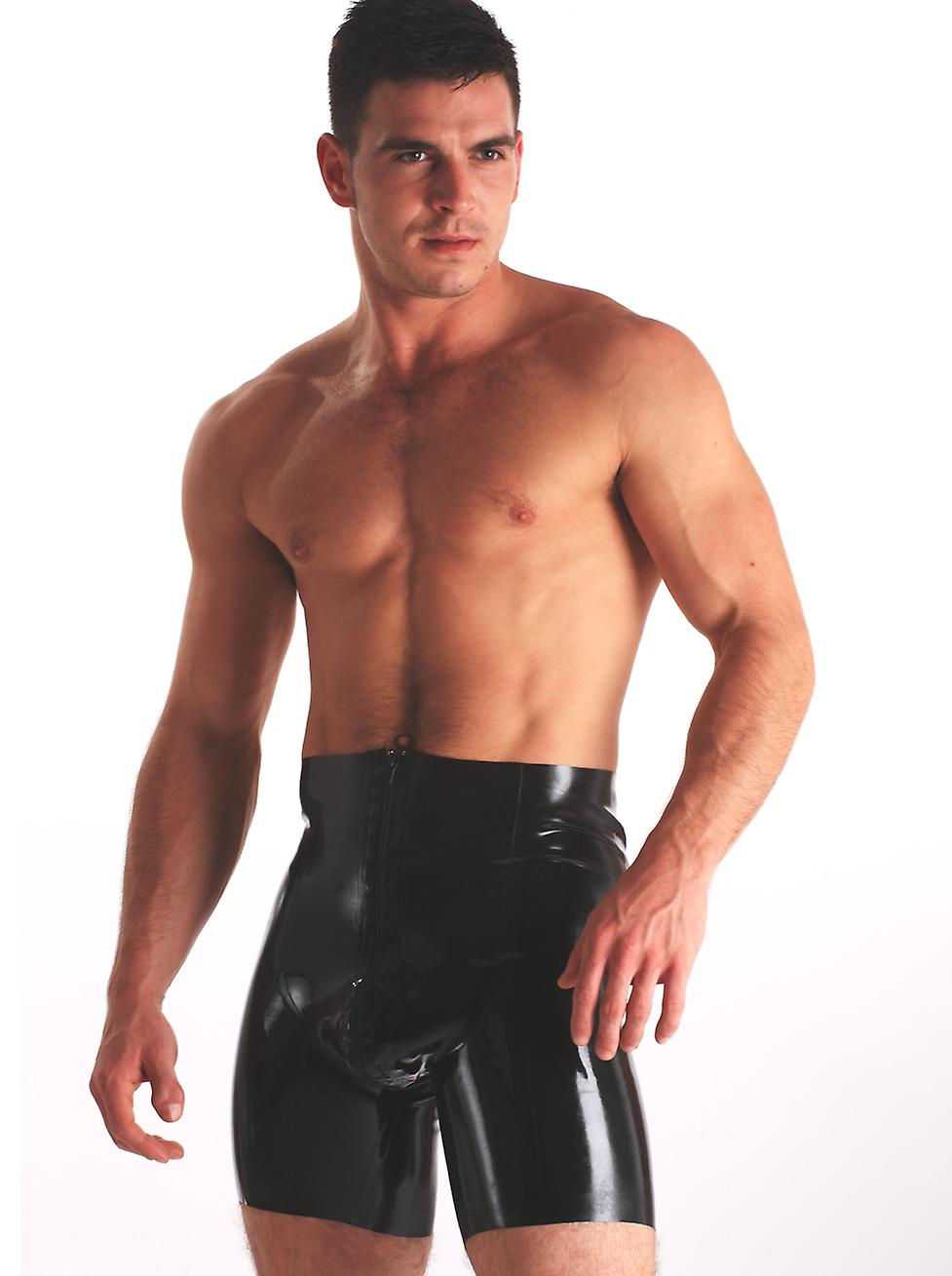 Skin Two Clothing Men's Sexy Cycle Shorts Hotpants Latex Rubber Zip Through