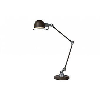 Lucide Honore Industrial Runde Metall Rost braune und graue Schreibtischlampe