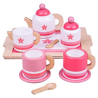 Bigjigs Toys Wooden Pink Tea Tray Play Set - Pretend Roleplay