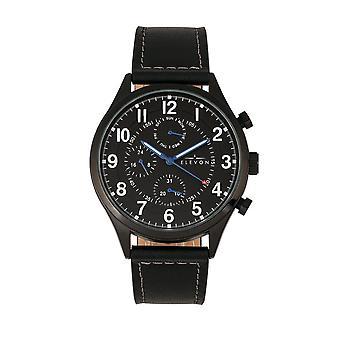 Elevon Lindbergh Leather-Band Watch w/Day/Date -Black