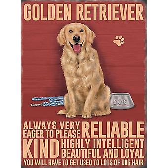 Medium Wall Plaque 200mm x 150mm - Golden Retriever by The Original Metal Sign Co