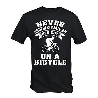 Never underestimate an old guy on a bicycle funny cycling cyclist t shirt