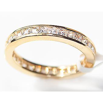 О, да! Ювелирные изделия ГИФТБОКС подлинное золото Заполненные 18K кольцо вечности